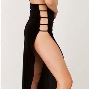 Long black velvet high slit skirt